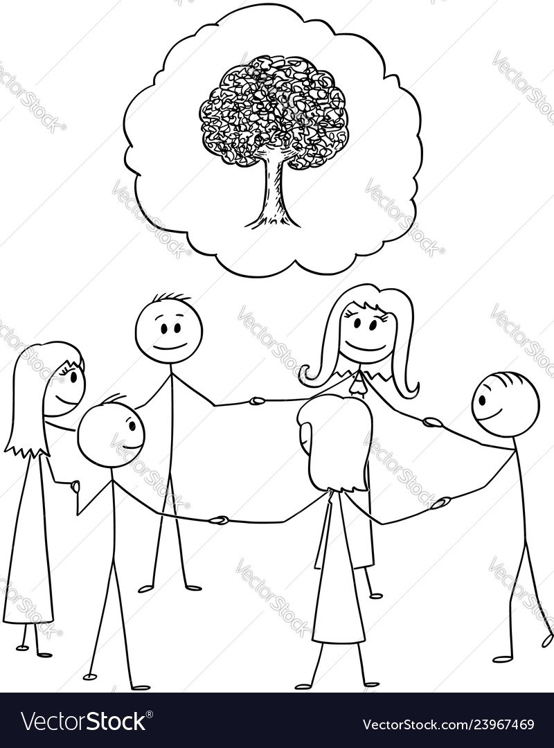 Cartoon of team or group of people in circle vector image