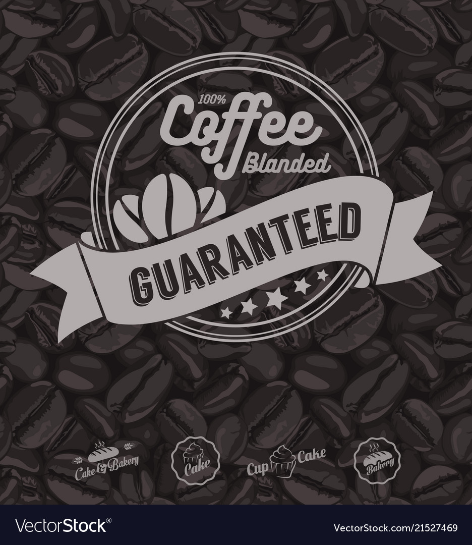 Coffee labels and coffee beans background