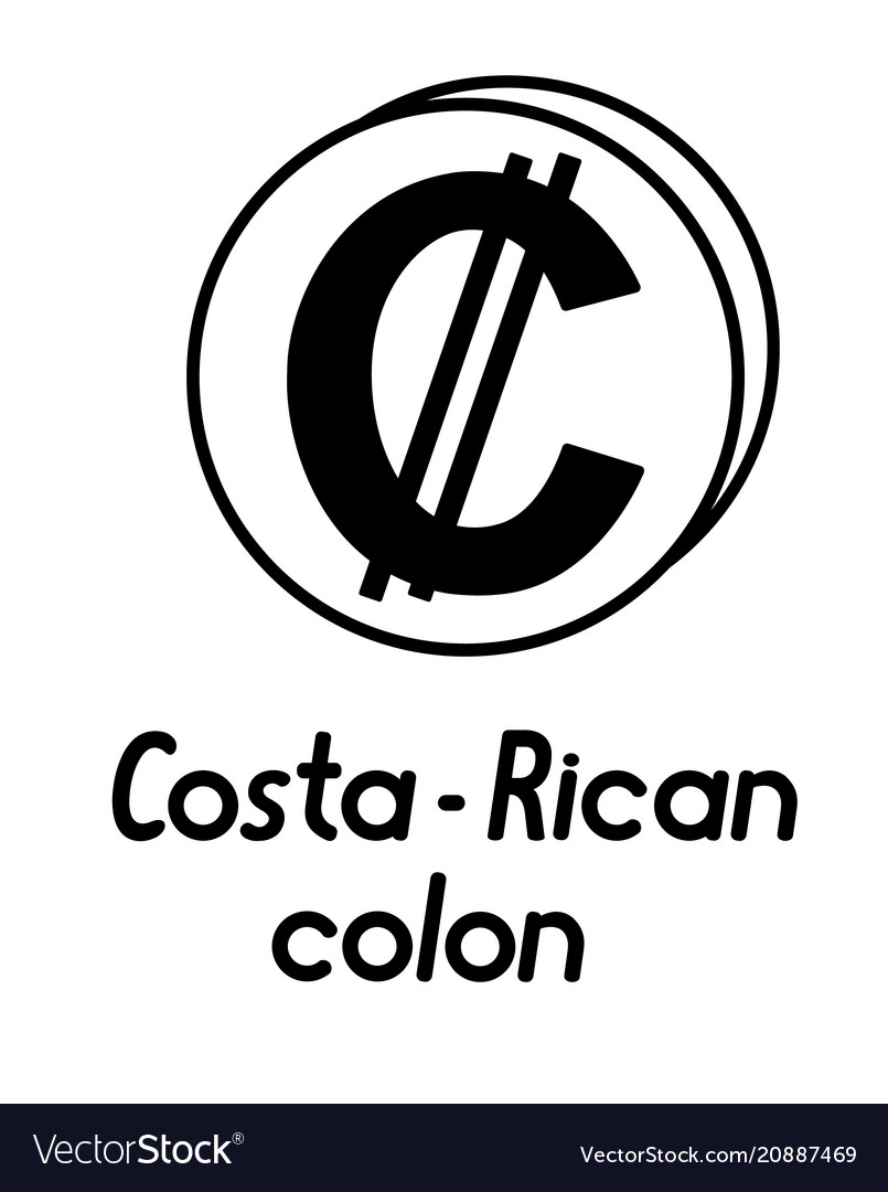Coin With Costa Rican Colon Sign Royalty Free Vector Image
