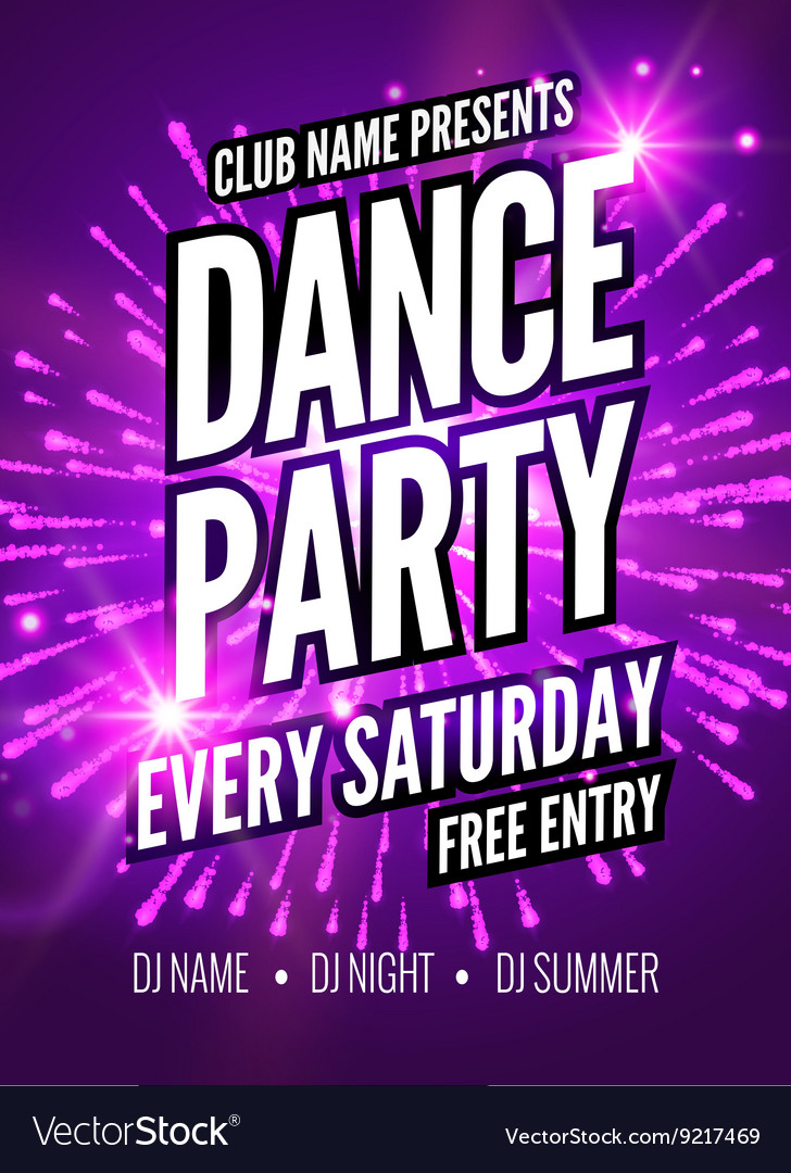 Dance Party Poster Template Night Dance Party