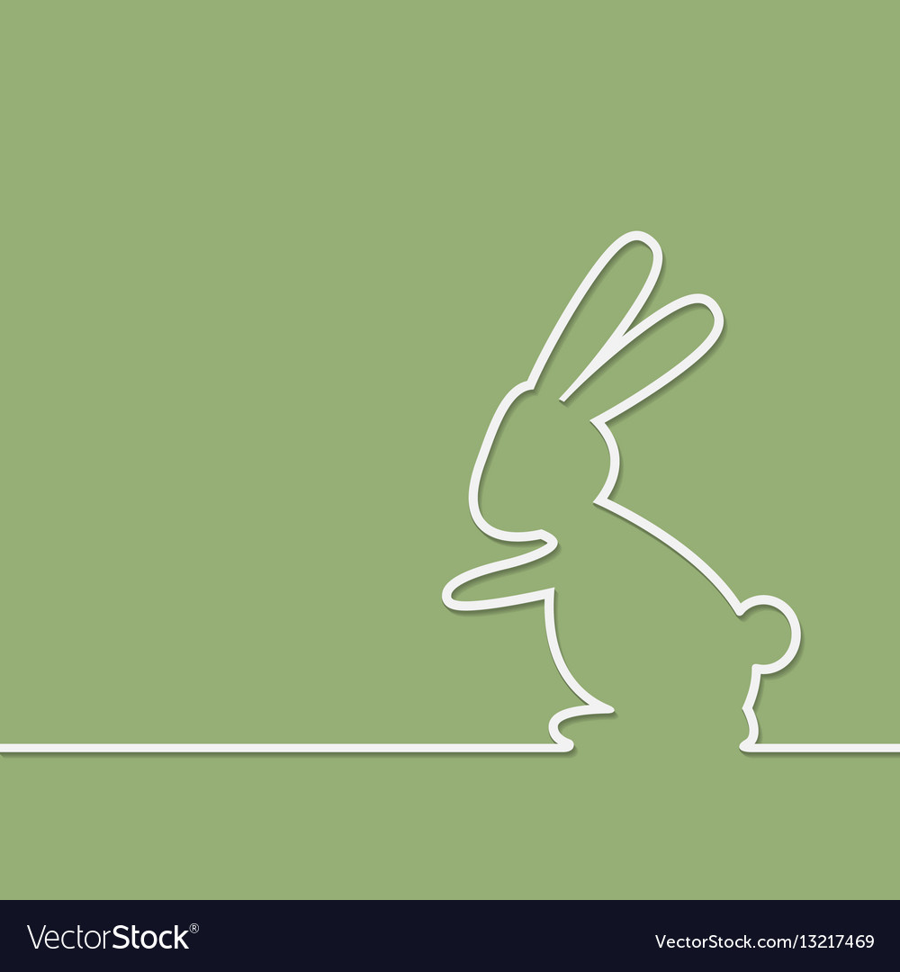 Easter rabbit on green background vector image