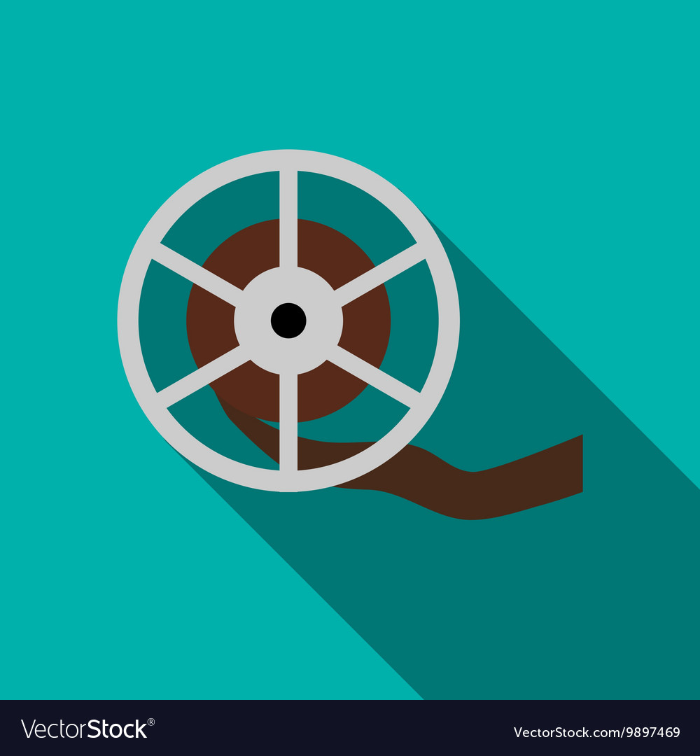 Film reel icon in flat style