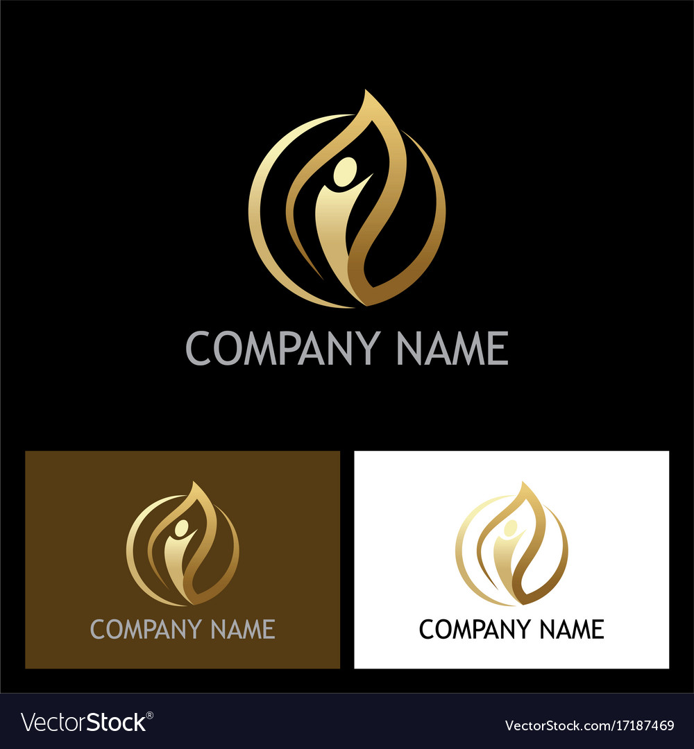Gold leaf people beauty logo vector image