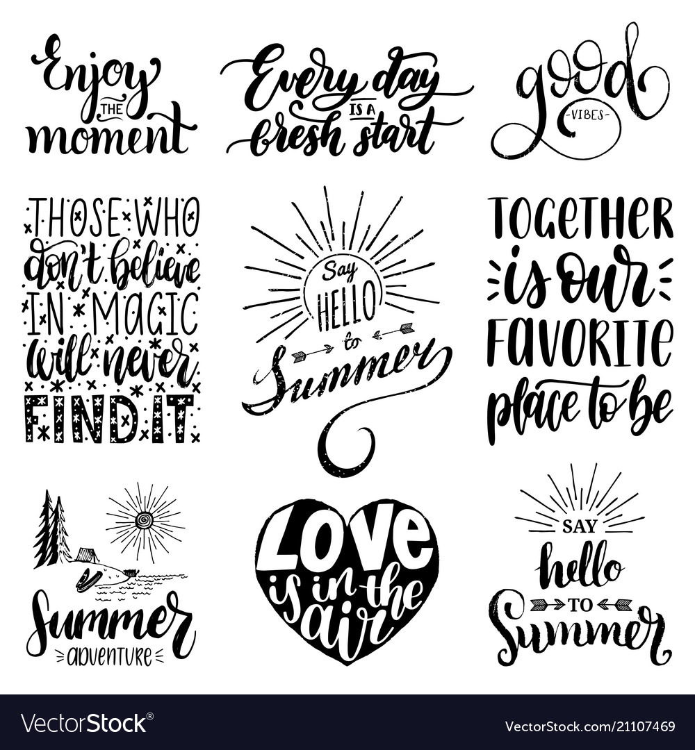 Hand lettering with motivational phrases