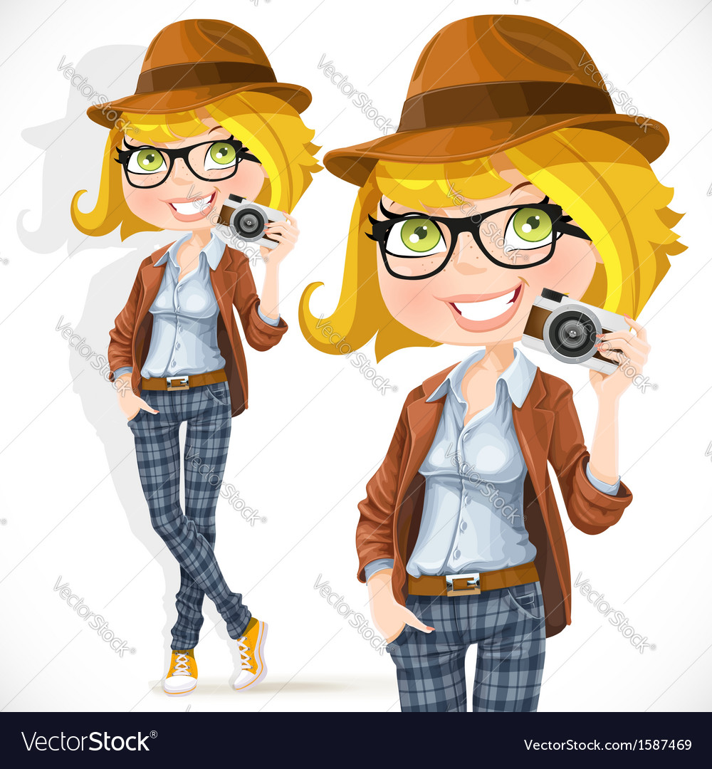 Hipster girl with a camera vector image