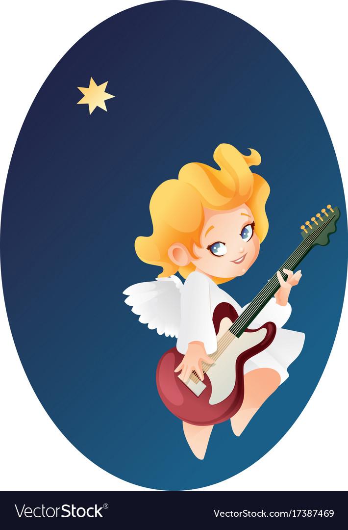 Kid angel musician guitarist flying on a night sky