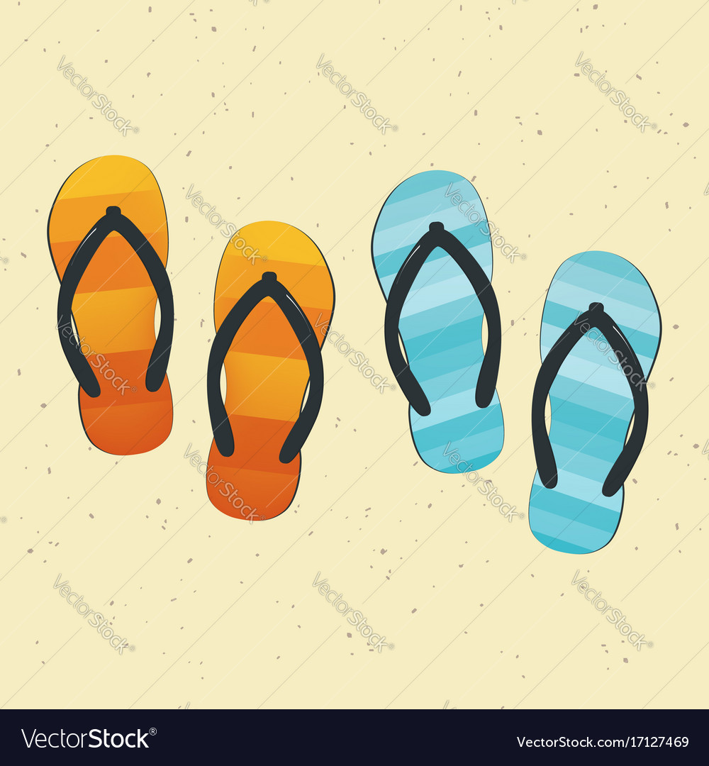 76d81900a78318 Pair of colorful flip-flops on sand Royalty Free Vector