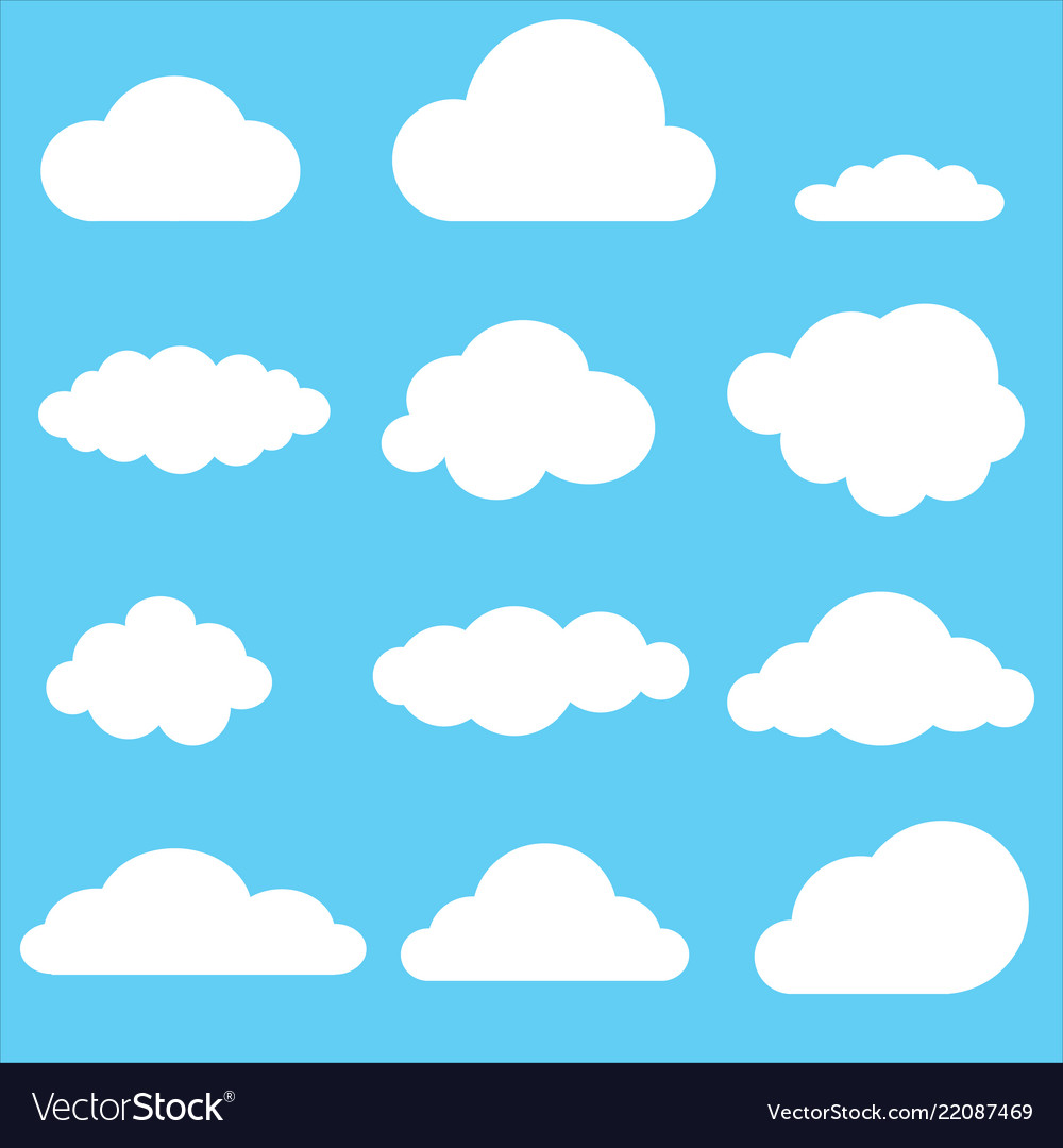 Set of clouds clouds icon on blue background
