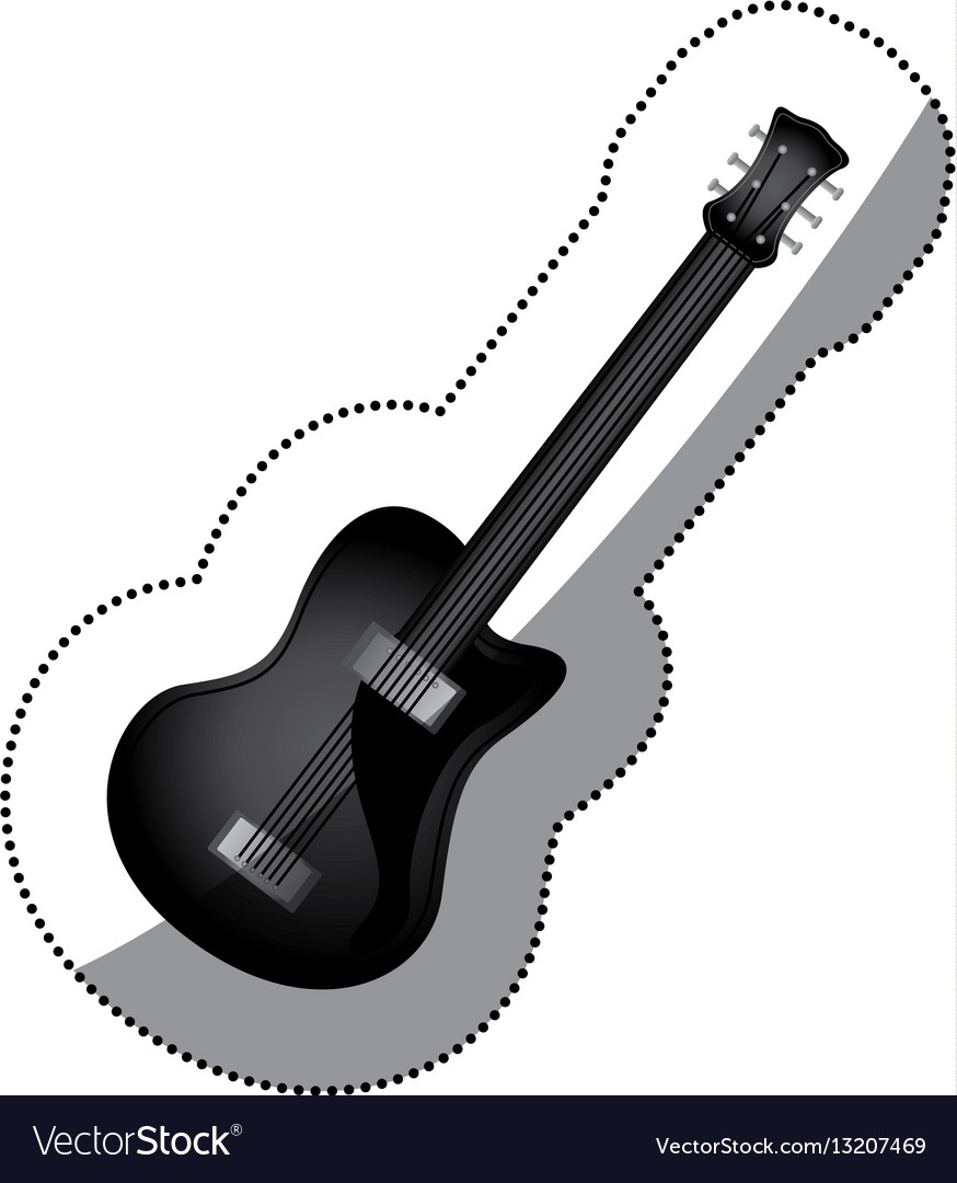 Sticker monochrome silhouette with electric guitar vector image