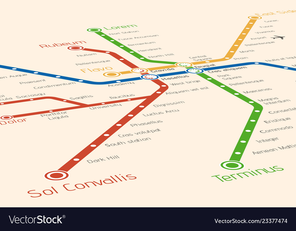 Subway Map Design.Abstract Metro Or Subway Map Design Template Vector Image