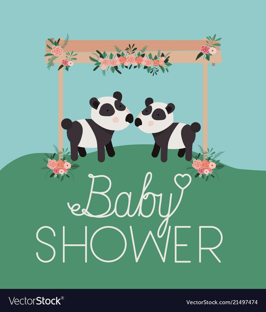 Baby shower card with cute bears panda couple