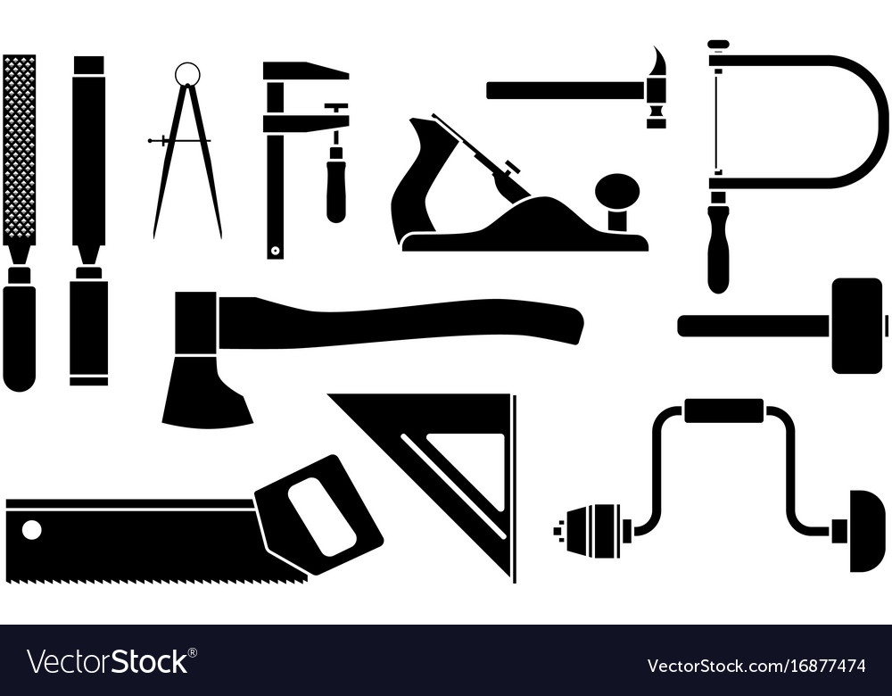 Carpentry icons woodwork tool set