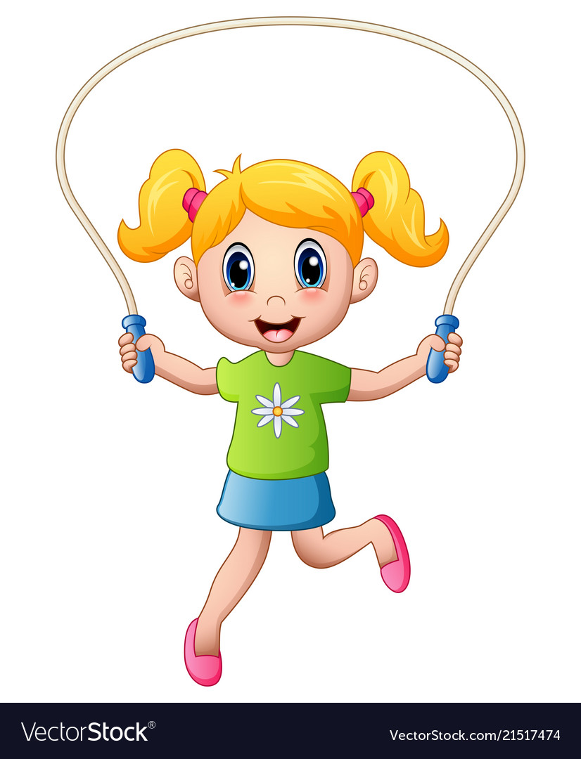 Cartoon little girl playing jumping rope
