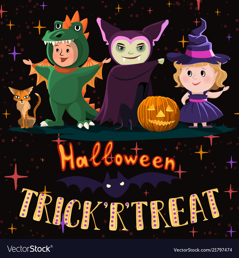 Halloween poster with kids in costumes witch