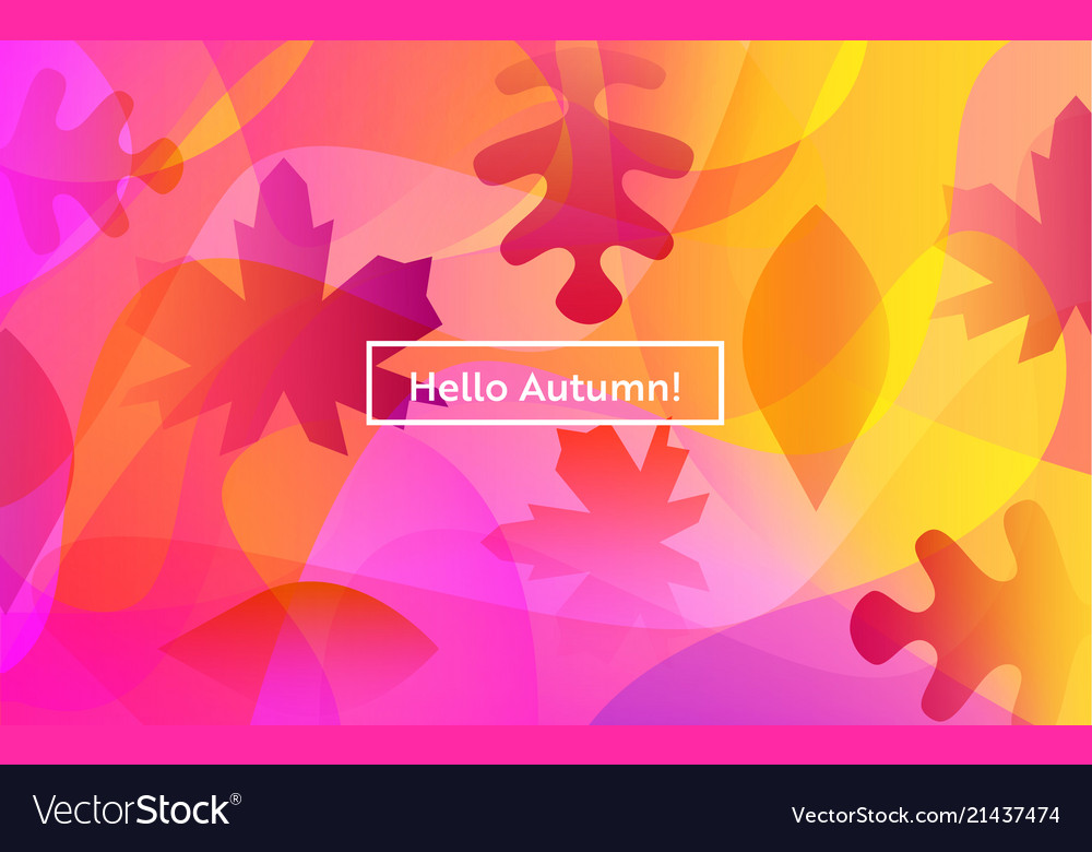 Hello autumn layout with leaves for web page