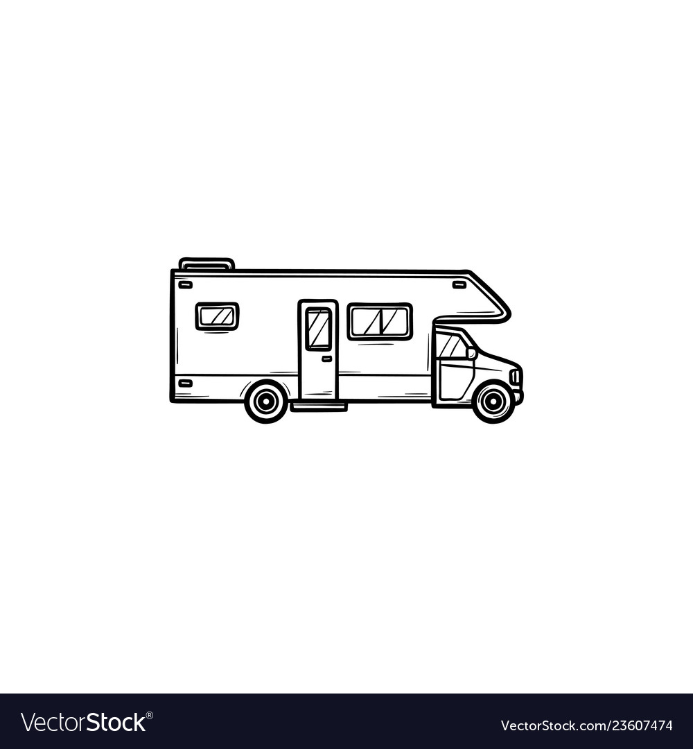 Recreational vehicle hand drawn outline doodle