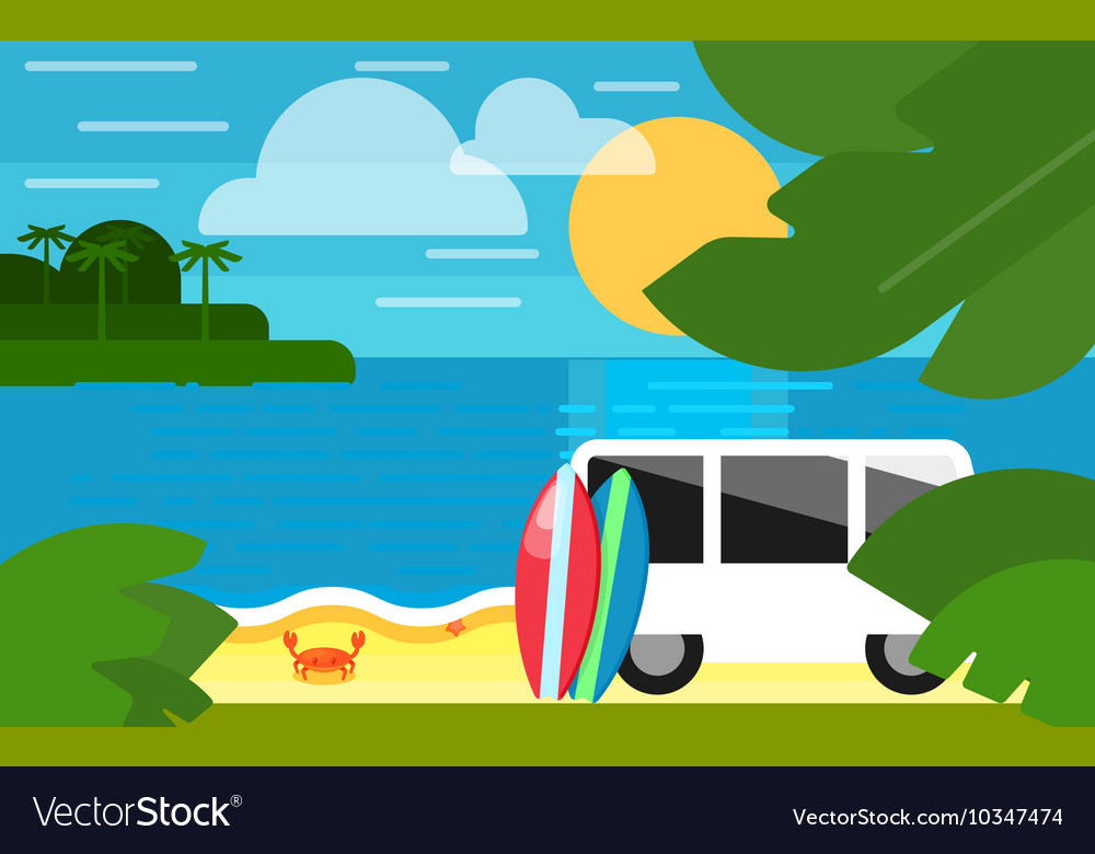 Seascape with Colorful Surfboards Near Mini Van
