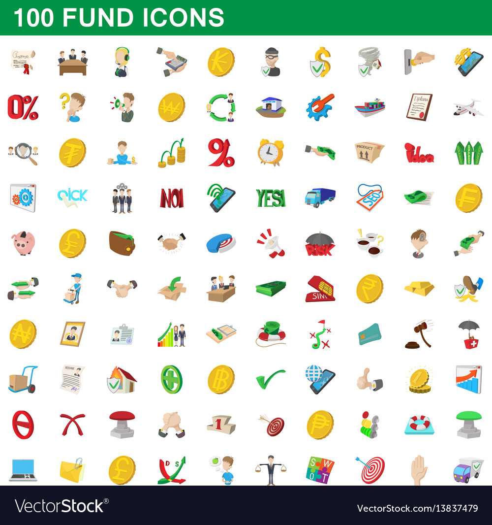 100 fund icons set cartoon style