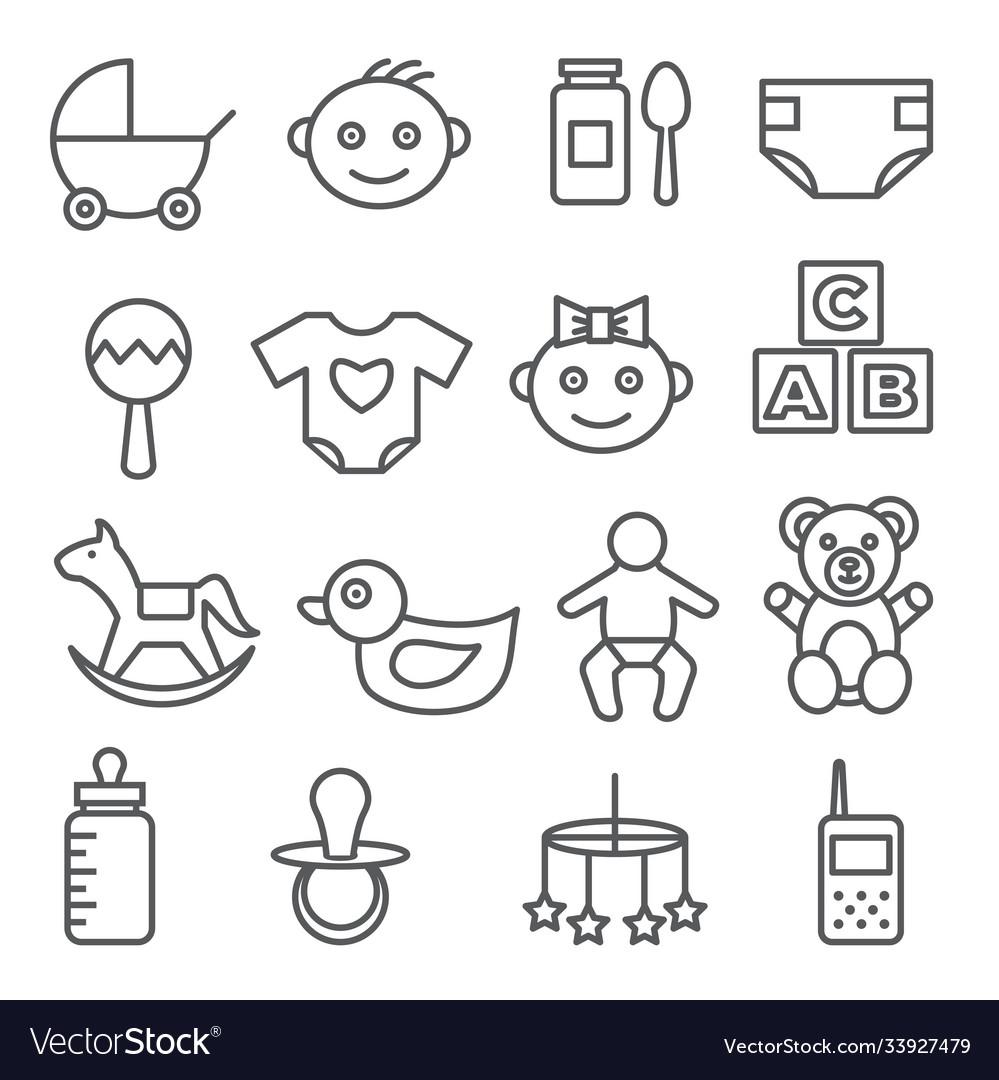 Baby line icons set on white background