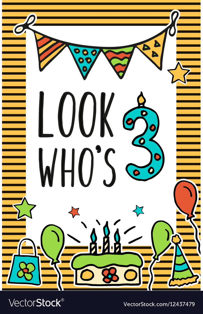 Birthday Kids Card With Colorful Numeral