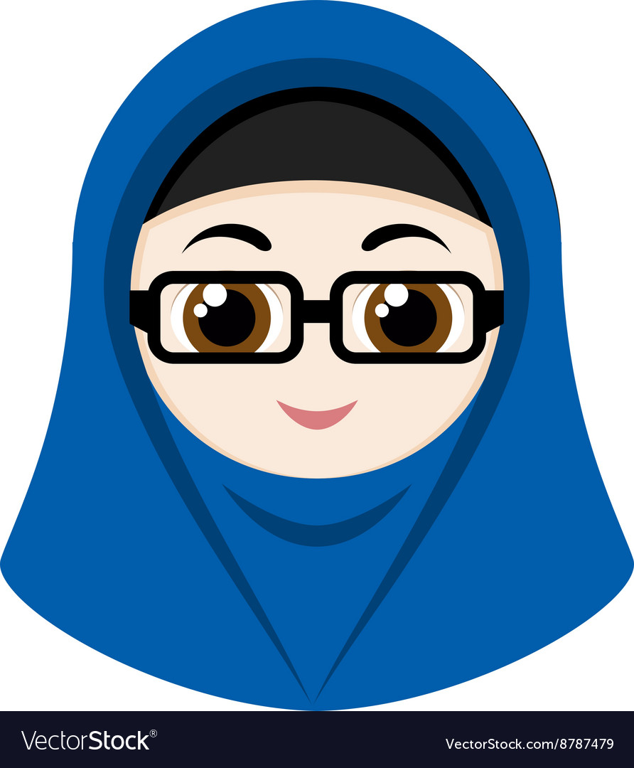 Glasses girl with hijab vector images 35