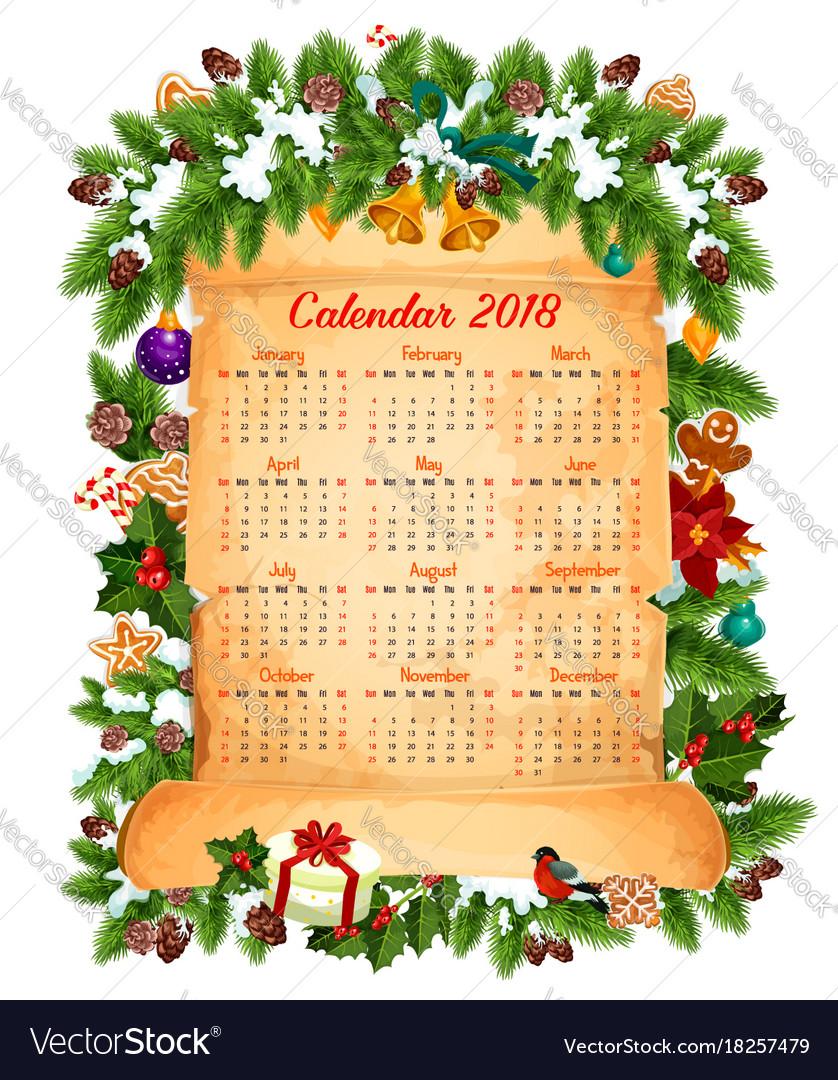 christmas new year 2018 calendar design vector image
