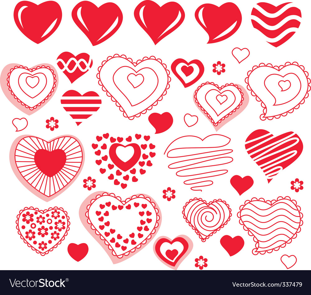 collection of different heart shapes royalty free vector