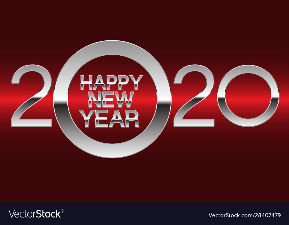 Happy new year 2020 silver on red light