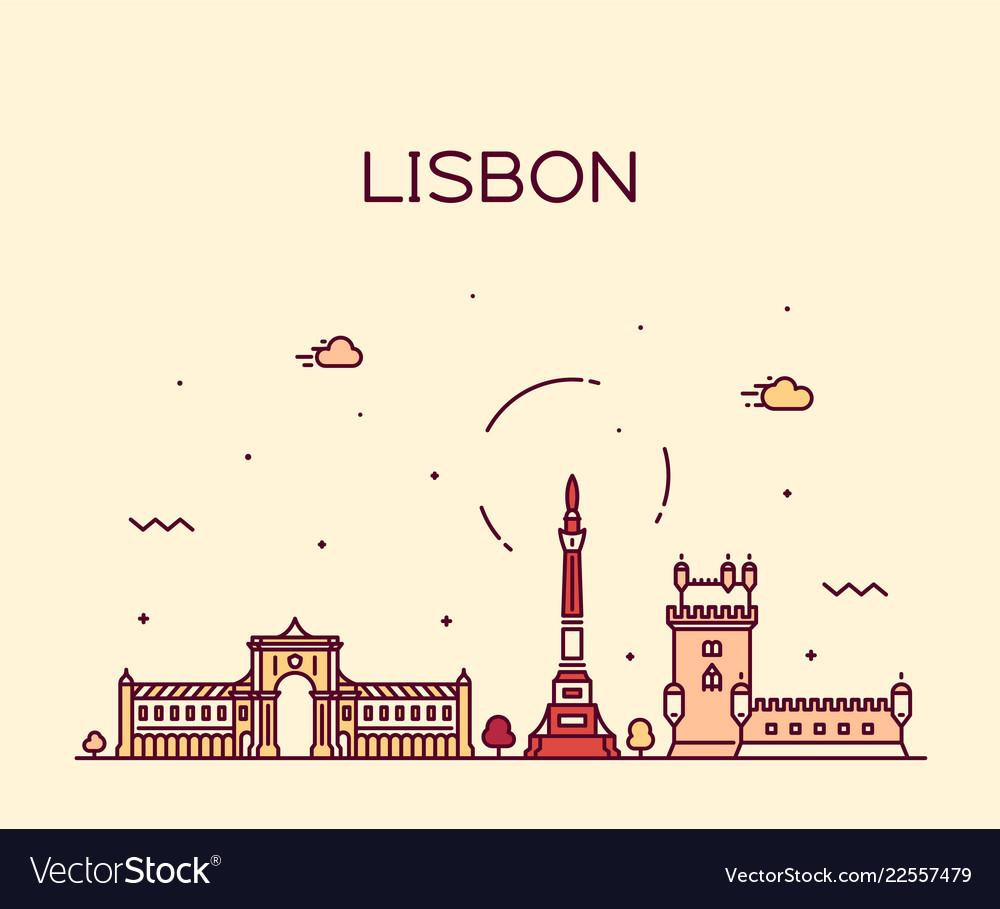 Lisbon city skyline portugal linear style