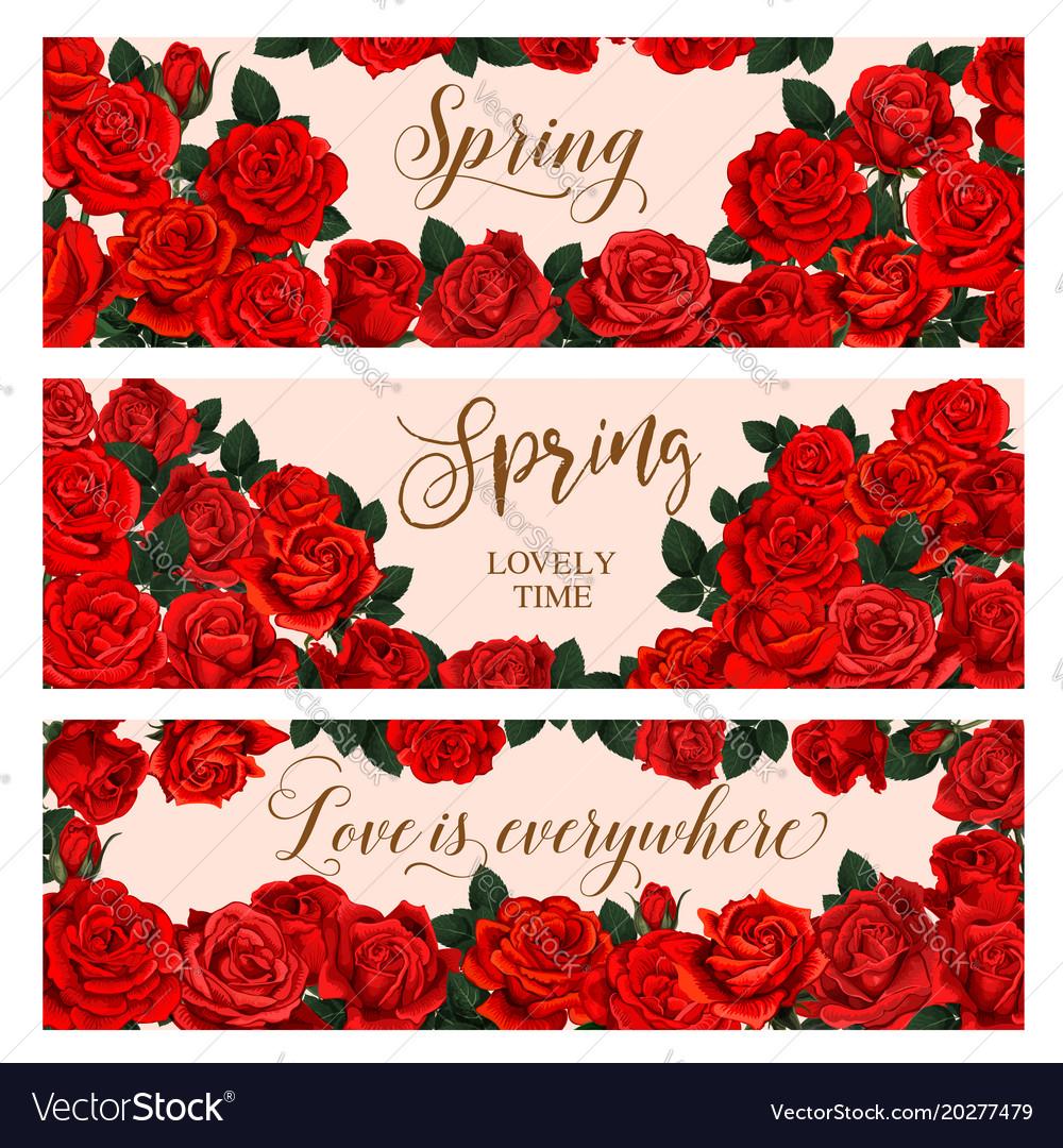 Red Flower Frame Of Spring Season Greeting Banner Vector Image