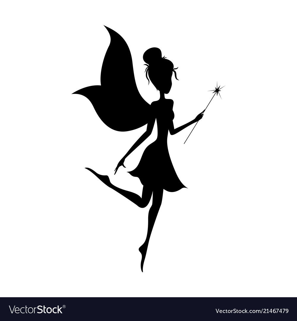 Silhouette of magical fairy with her wand