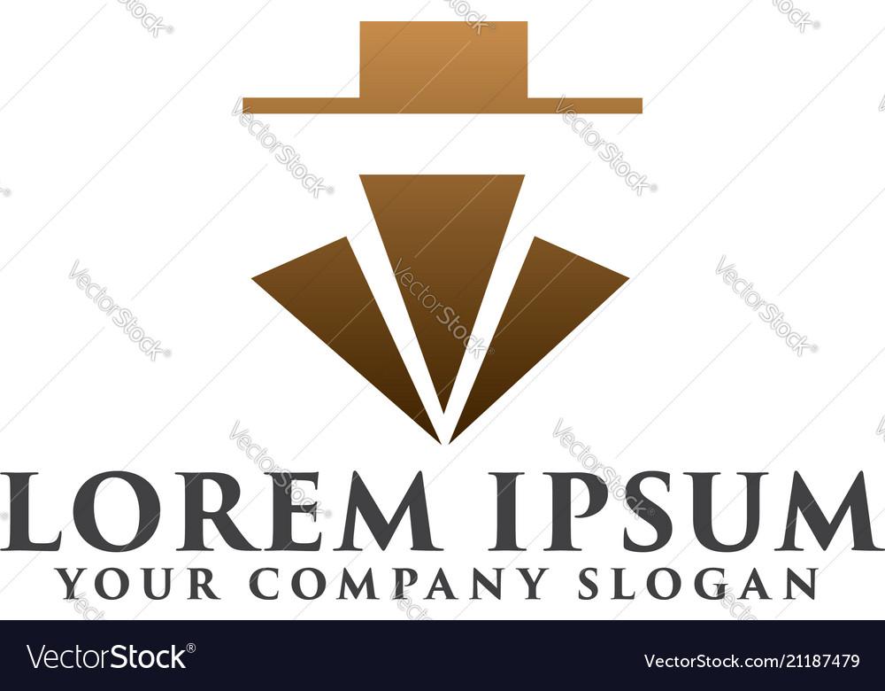 Simple luxury cowboy logo design concept template