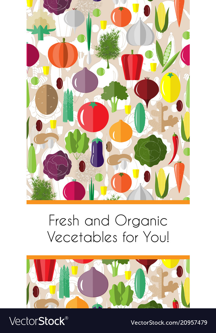 Vertical border with colorful vegetables template
