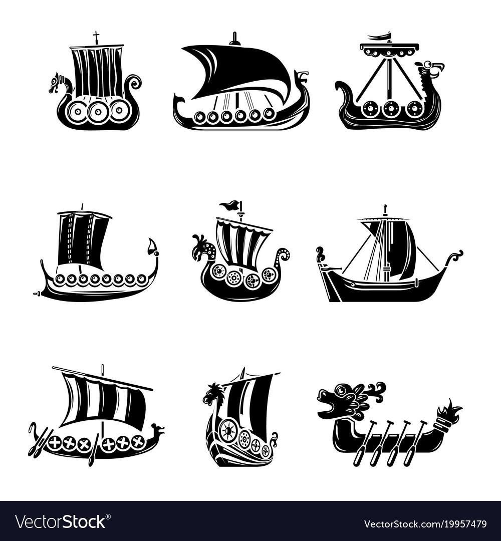 Viking ship boat drakkar icons set simple style