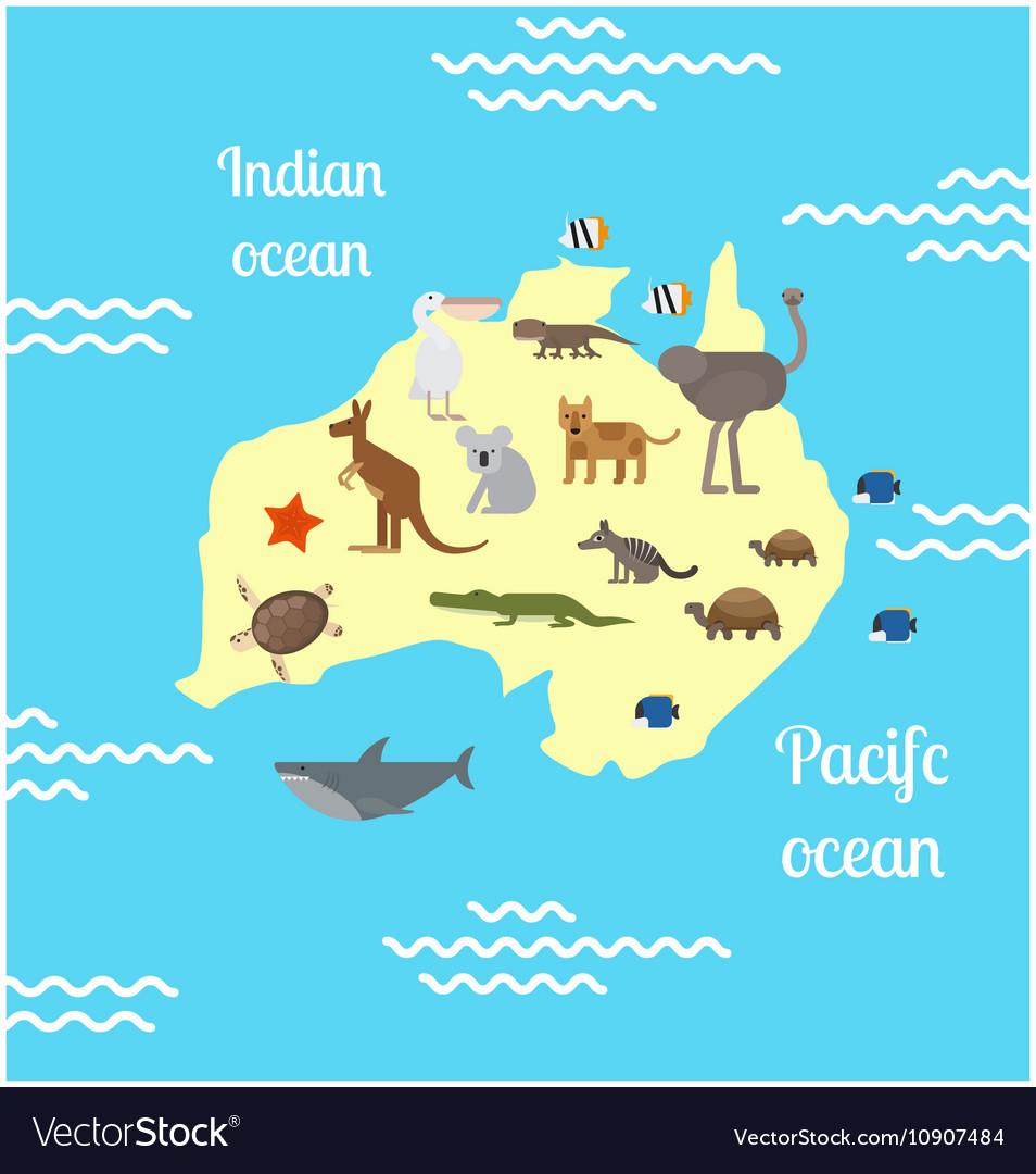 World Map From Australia.Australia Animals World Map For Children