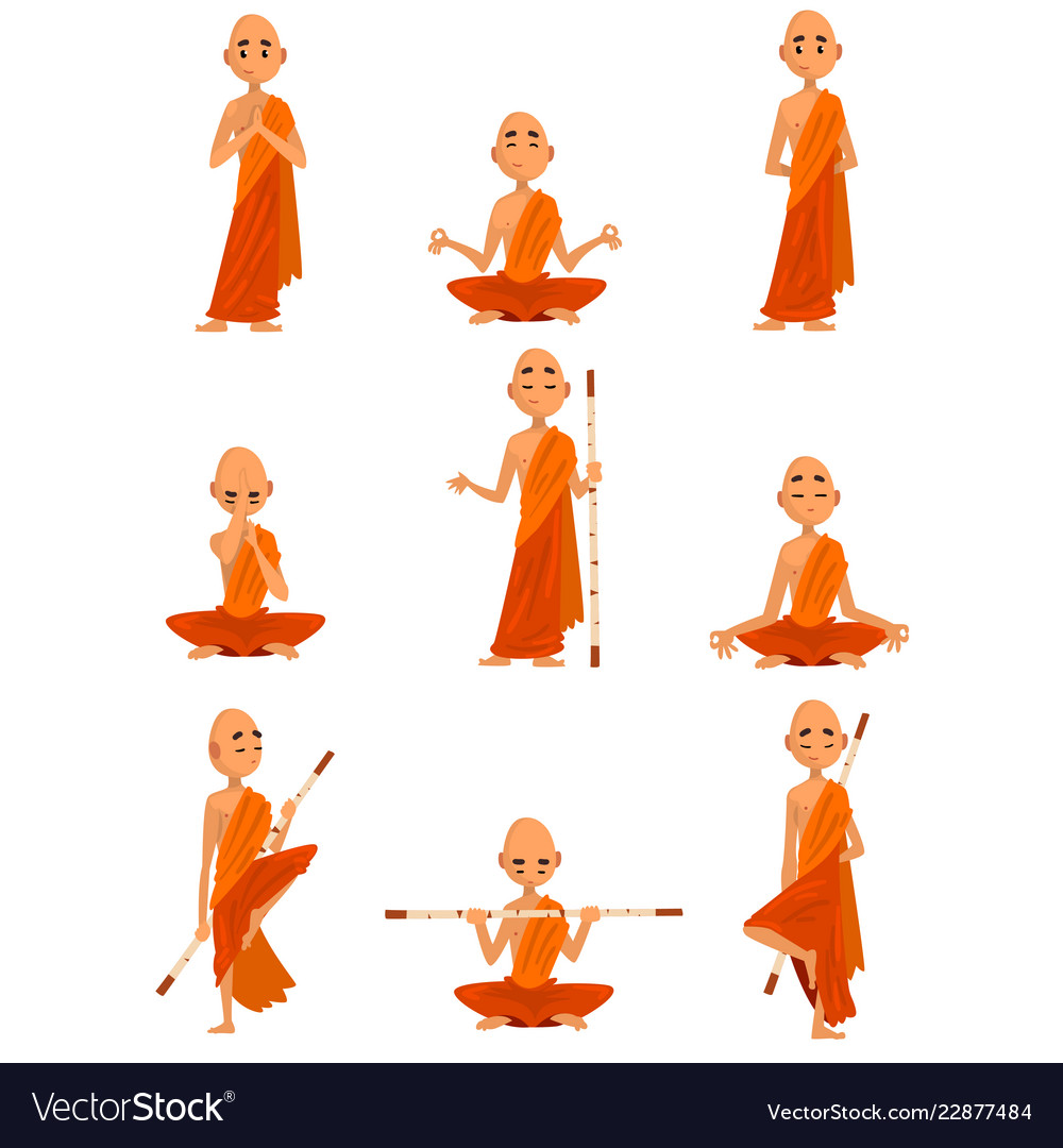 Buddhist monks cartoon characters in different