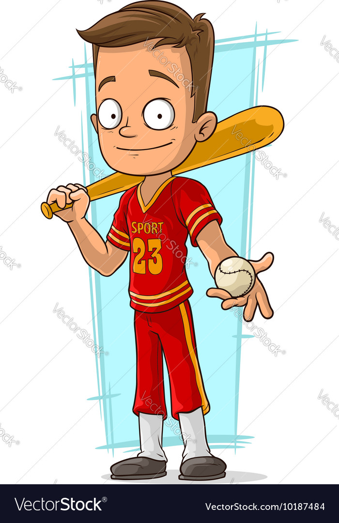 Cartoon baseball player in red uniform vector image