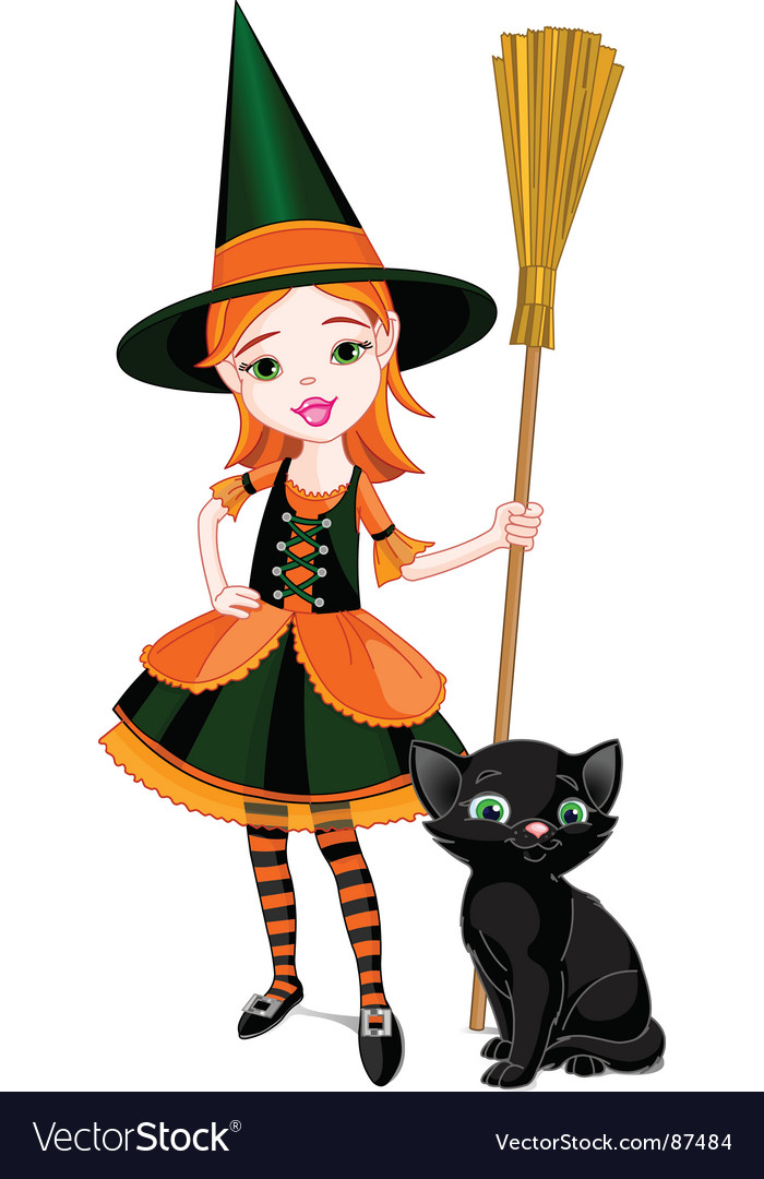 Cartoon Halloween witch vector image