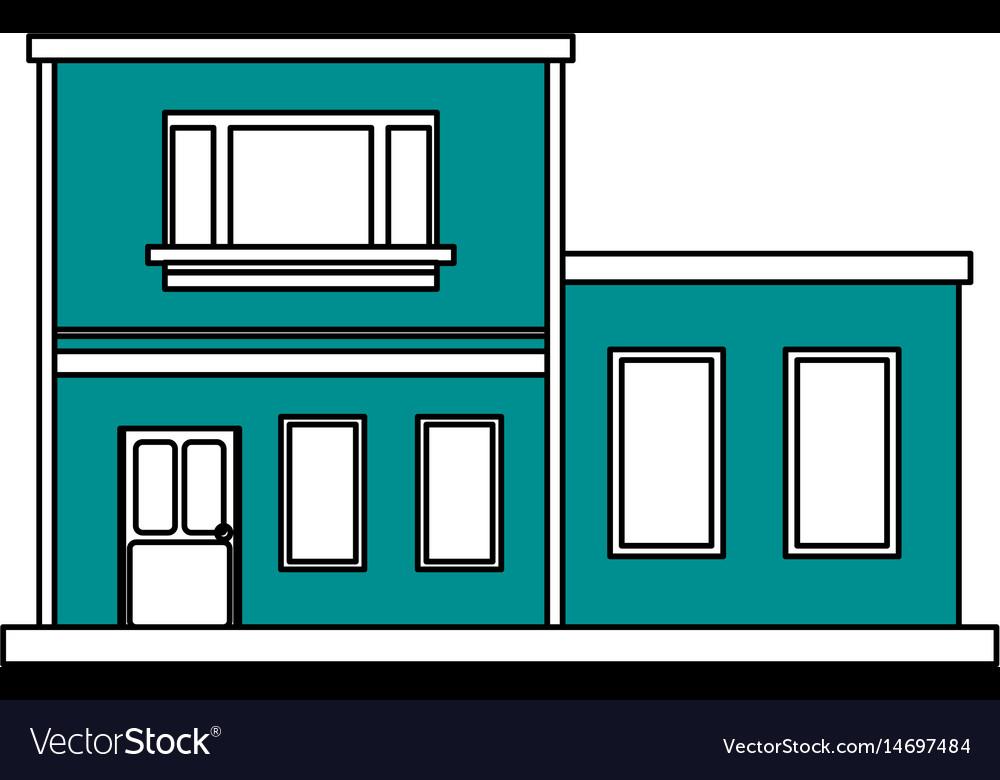 Color silhouette cartoon blue facade two house vector image