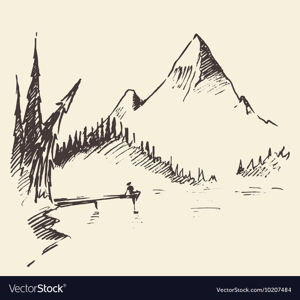 Drawn landscape mountain lake fir forest