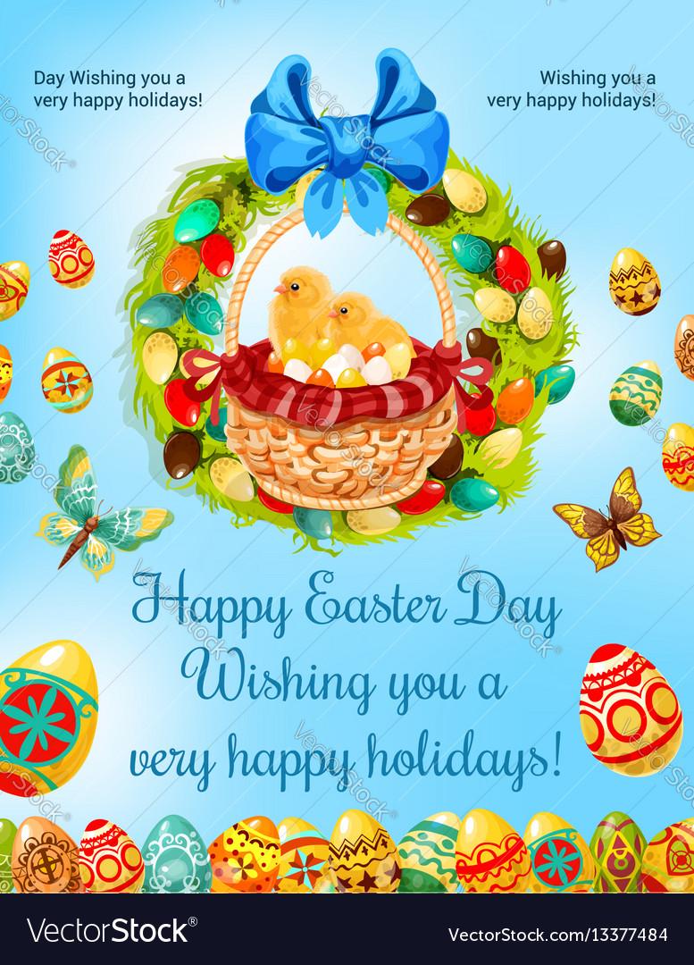 Easter spring holiday egg hunt celebration poster