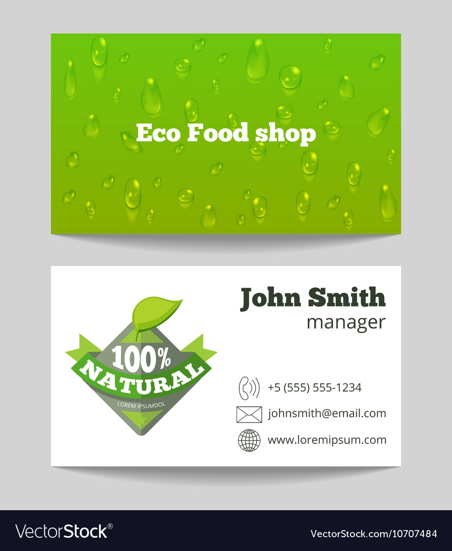 Green organic eco food shop business card