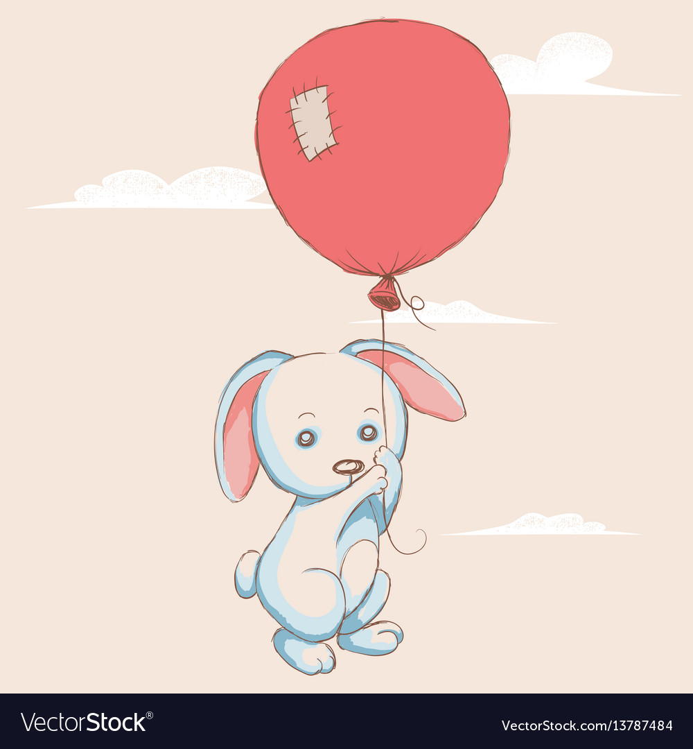 Little rabbit flying with balloon