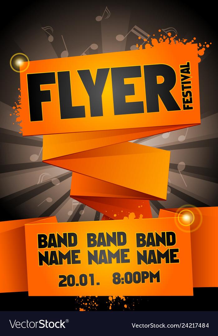 Orange festival flyer design template for party