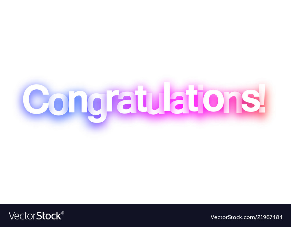 Pink congratulations sign on white background