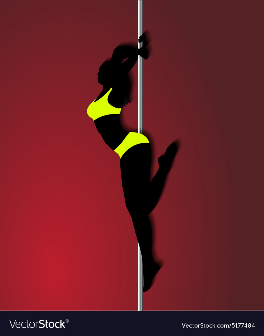 Pole dancer in bright yellow clothes sexy