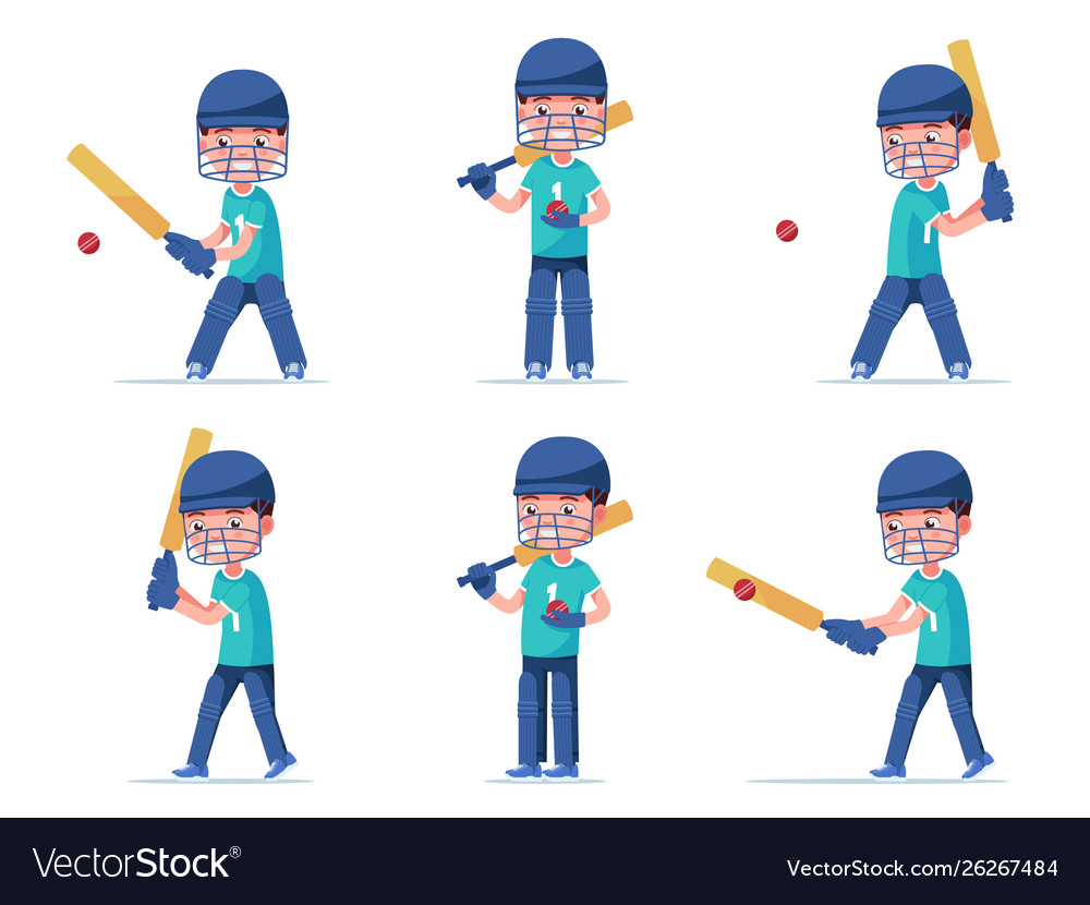 Set boy cricket player playing with a ball