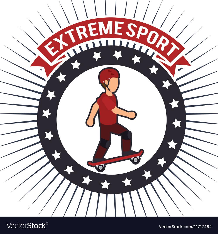 Skateboarder extreme sport banner emblem