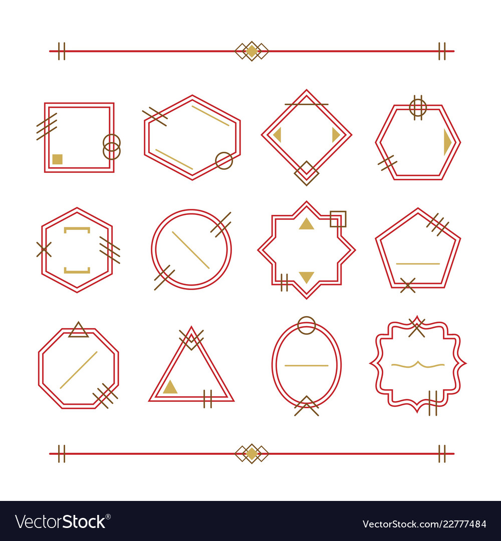 Trendy red and golden empty and blank line emblems