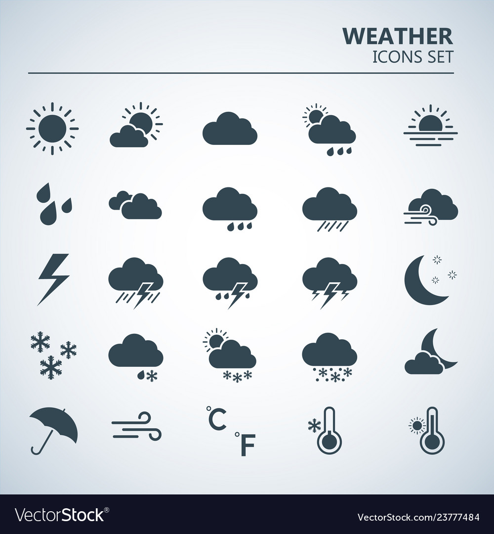 Weather web icons set silhouette art